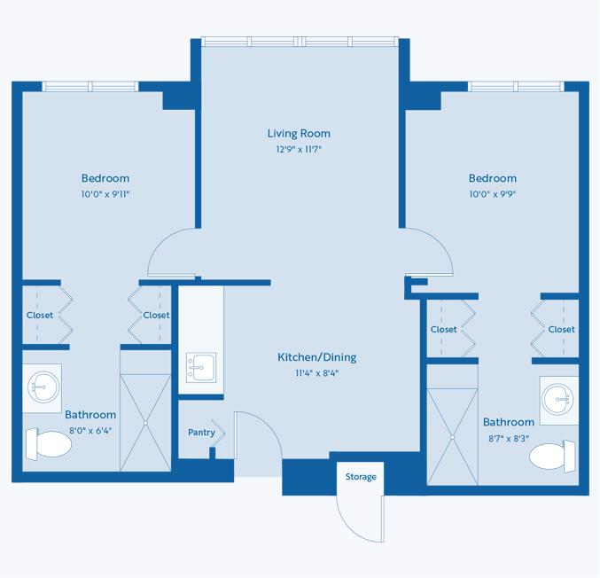 The Azalea senior apartment floor plan at CC Young senior living