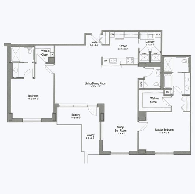 Lake Pointe senior apartment floor plan at CC Young senior living