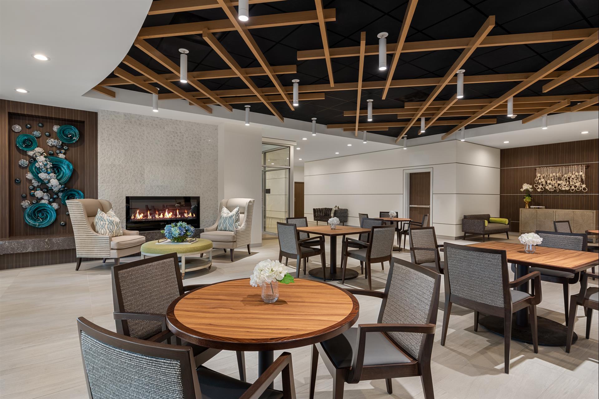 Dining area inside The Vista
