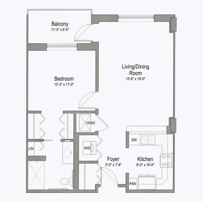 Arboretum senior apartment floor plan at CC Young senior living