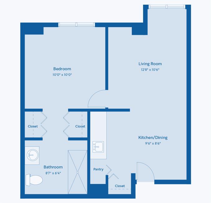 The Bluebonnet senior apartment floor plan at CC Young