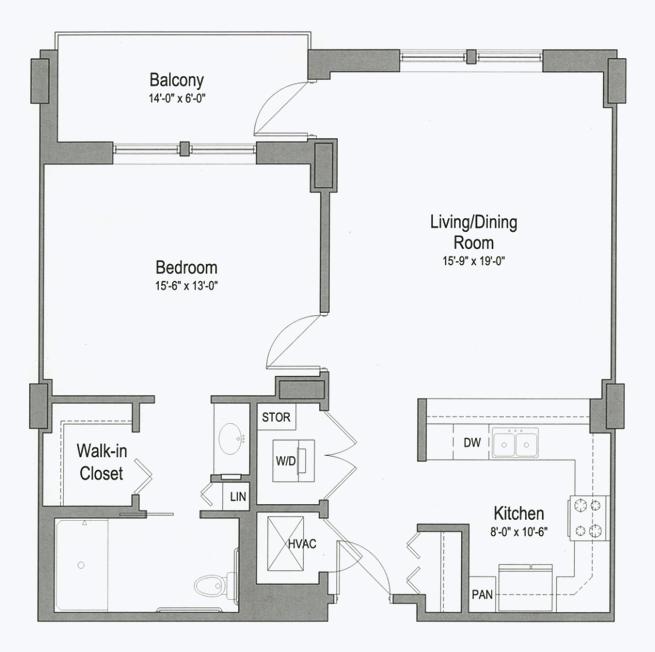 Jackson senior apartment floor plan at CC Young