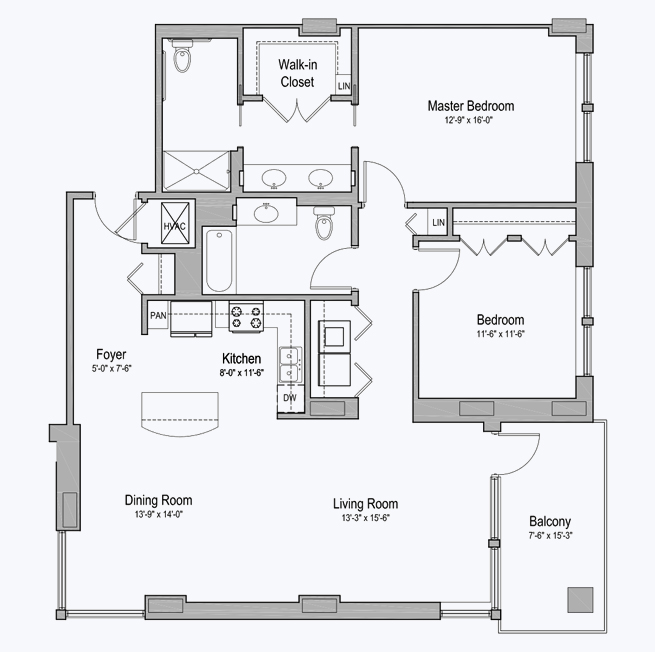 Lakeshore senior apartment floor plan at CC Young senior living