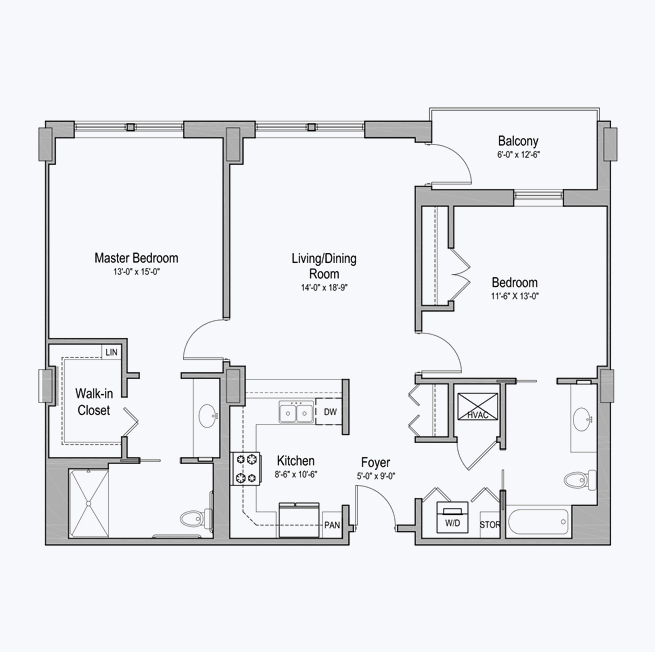 Lakewood senior apartment floor plan at CC Young senior living
