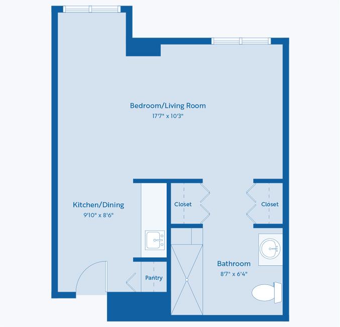 The tulip senior apartment floor plan at CC Young senior living
