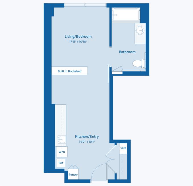 The Maple senior apartment floor plan at The Vista