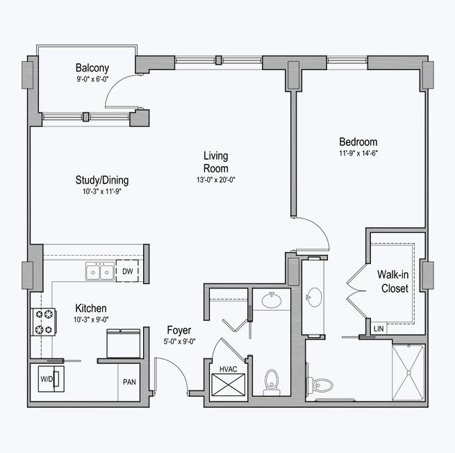 Winfrey senior apartment floor plan at CC Young senior living